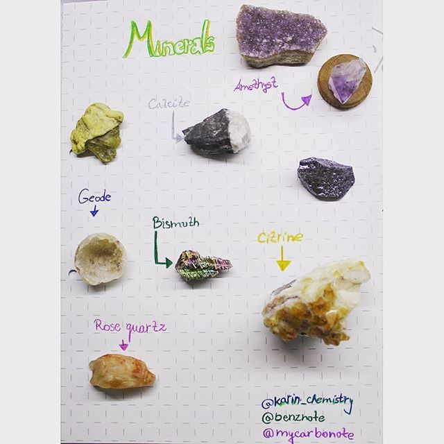 Minerals  A mineral is a naturally occurring chemical compoundusually of crystalline form and abiogenic in origin.  Minerals can be described by their various physical properties which are related to their chemical structure and composition. Common distinguishing characteristics include crystal structure and habit hardness lustre diaphaneity colour streak tenacity cleavage fracture parting specific gravity magnetism taste or smell radioactivity and reaction to acid. Minerals have an inherent…