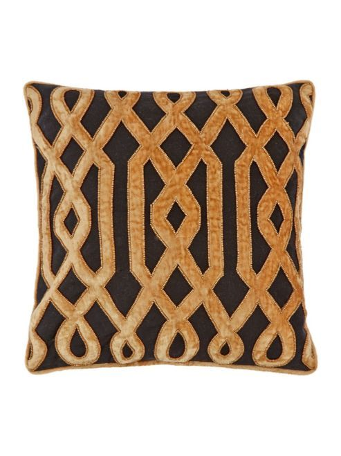 Biba Deco Beaded Cushion, Black