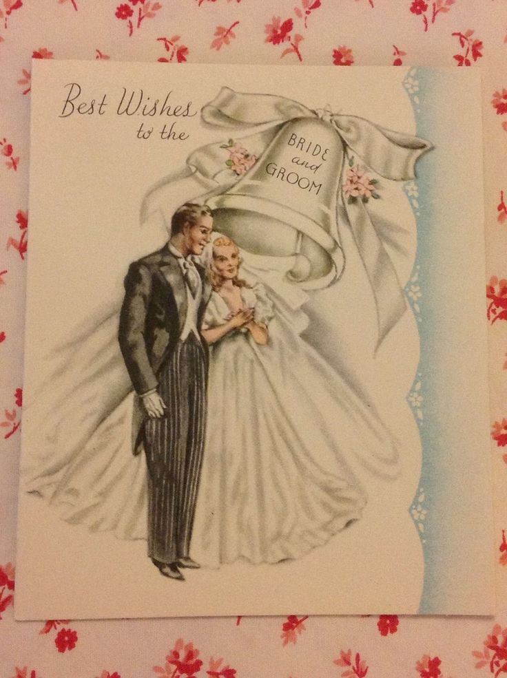 Vintage 1945 Wedding Card With Elegant Bride Amp Groom Wedding Bell
