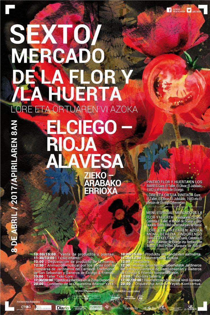 El color siempre refuerza el diseño.  Cartel de la Flor y Huerta de Elciego......Una buena excusa si no conocéis este bonito pueblo!