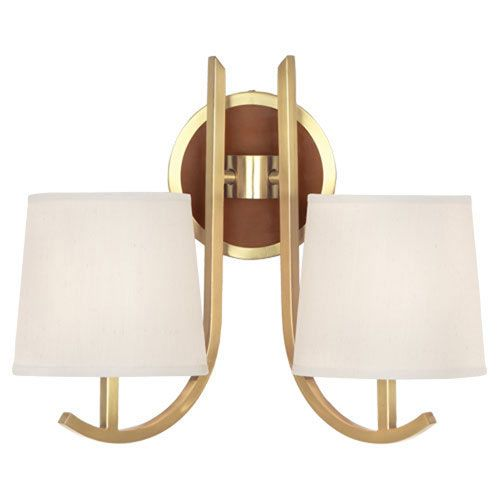 robert abbey francesco antique brass and camel leather twolight sconce