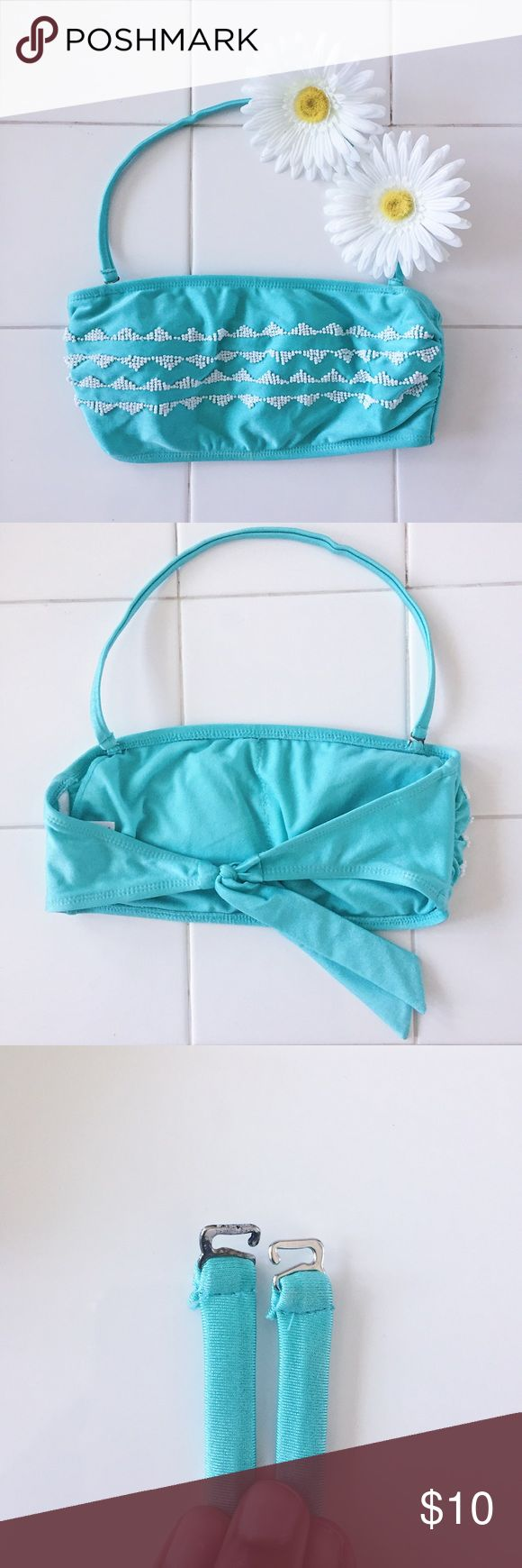 Turquoise Bandeau Bikini Top Bandeau bikini top with white beaded triangle design. Beautiful turquoise color, my personal favorite. Removable straps and non-removable padding. Only worn a couple times. No pilling or tears. Size S/P; recommended for A-B cup only. Victoria's Secret for exposure. From Target. Victoria's Secret Swim Bikinis