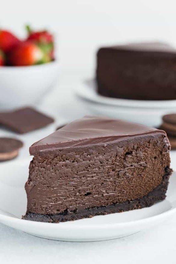Triple Chocolate Cheesecake Hidangan Penutup Kue Keju Resep Kue Keju