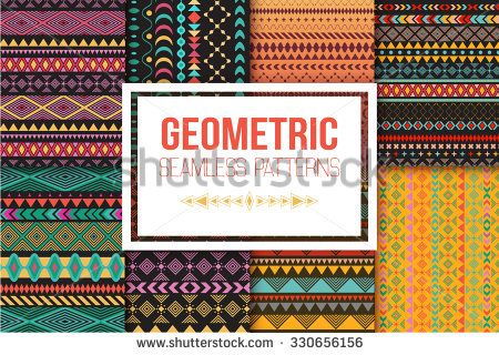 Seamless vector tribal texture set. Tribal seamless texture. Vintage ethnic seamless backdrop. Boho stripes. Striped vintage boho fashion style pattern background with tribal shape elements. - stock vector
