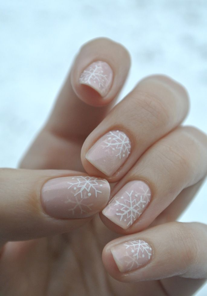 The subtle snowflake holiday manicure is the perfect combo of festive + chic.