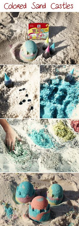 """Mix a few drops of food coloring (Neon works best) in the sand and """"Voila""""… colored sand! Kids LOVE it!   (The food coloring will stain hands for a bit, but easily washes out with plenty of ocean/pool play. It will not stain clothes).  HAVE FUN MAKING THINGS COLORFUL!!!!!: Colors Sands, Neon Work, Food Colors, Food Coloring, Have Fun, Stained Hands, Colors Neon, Stained Clothing, Things Colors"""