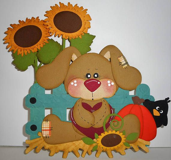 Fall Autumn Bunny Handmade Scrapbook Paper Piecing 4 Cards ...