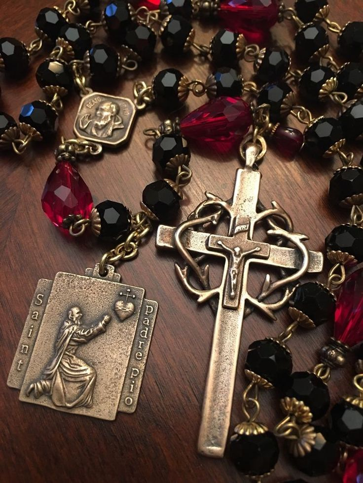 Rosary ~ Saint Padre Pio ~ Black Crystal ~ Antique Bronze Design ~ Handmade