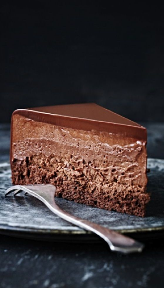 QUADRUPLE CHOCOLATE CHEESECAKE MOUSSE CAKE ~~~ flourless chocolate cake, chocolate cheesecake, chocolate mousse, and chocolate ganache make up this four layer love fest. [portuguesegirlcooks]