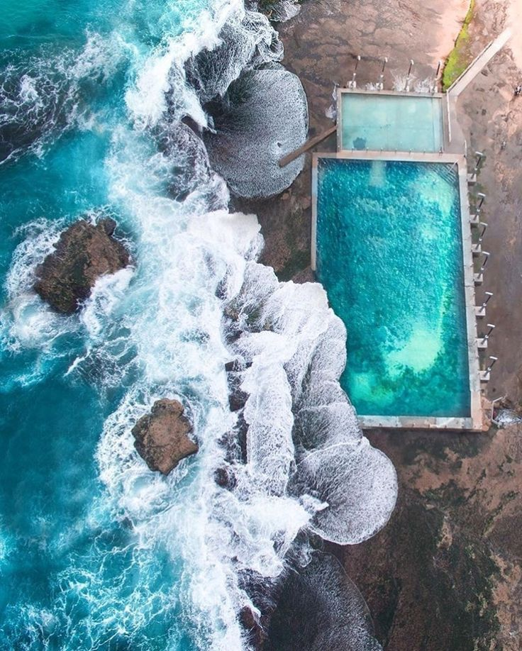 Quite the dilemma... beautiful ocean or beautiful pool? Which would you choose? this #drone shot from @gabscanu #chasinunicorns