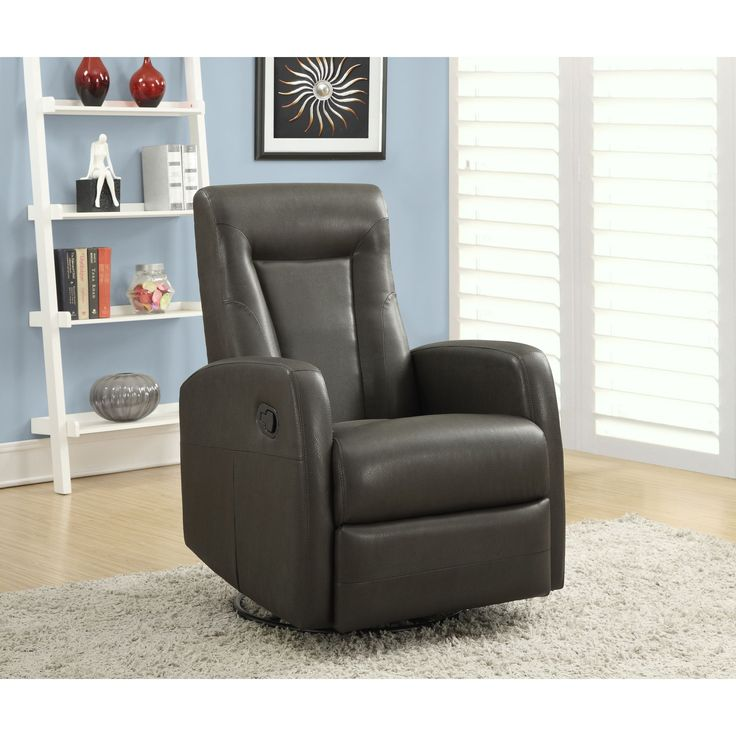 monarch charcoal grey bonded leather swivel rocker reclining chair charcoal grey swivel rocker recliner living room - Swivel Rocker Chairs For Living Room