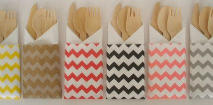 Wooden Utensils in paper bags, tied with string