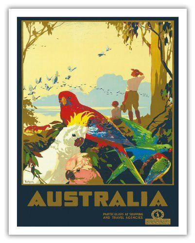 Australia - Australian Birds - Vintage World Travel Poster c.1930s - Fine Art Print - 11in x 14in by Pacifica Island Art