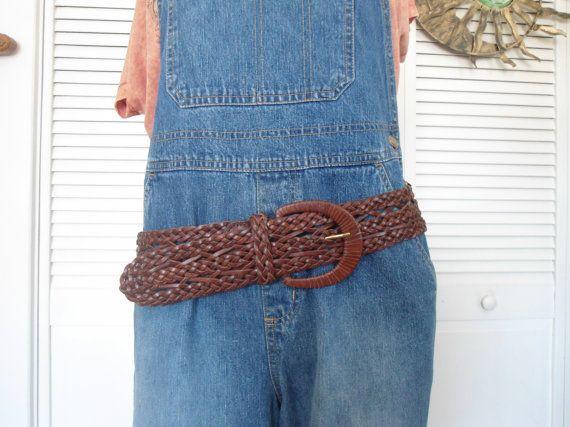 Plus Size Wide Brown Womens Braided Genuine Leather Belt by LandofBridget