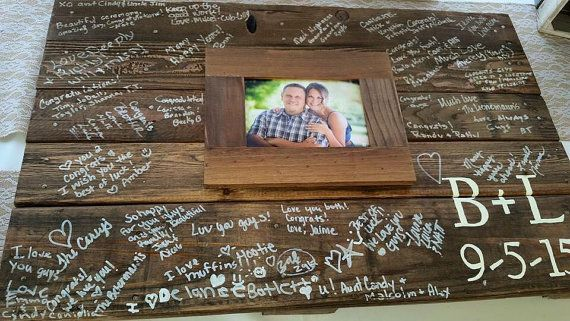 Wood pallet wedding Guest book Alternative sign by RusticRestyle