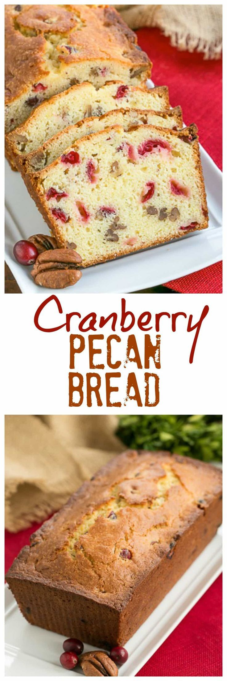 Cranberry Pecan Bread | Moist, dense and loaded with fresh cranberries and nuts! #thanksgiving #cranberries #bread