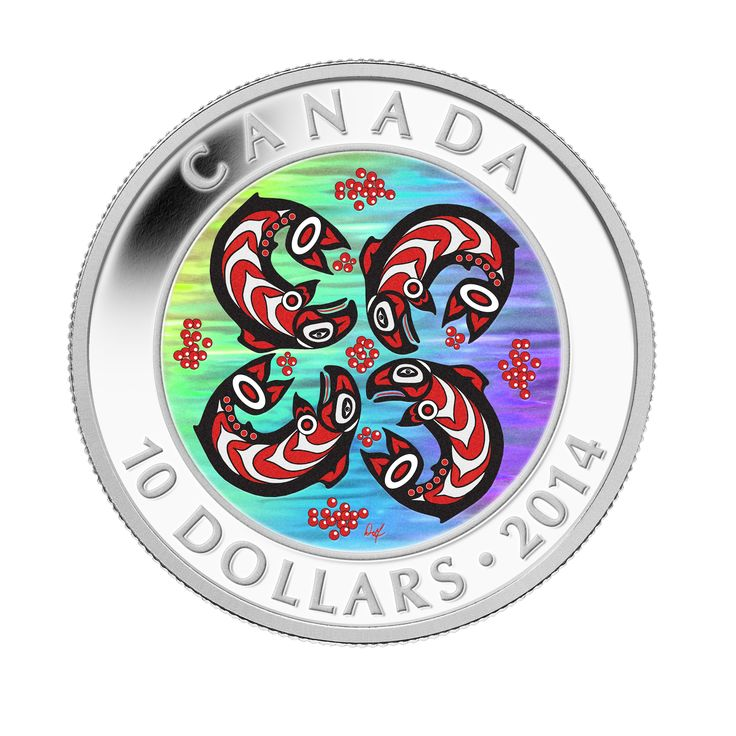 1/2 oz. Fine Silver Hologram Coin – First Nations Art: Salmon (2014) Aboriginal art and modern technology combine to create a distinctly unique coin.