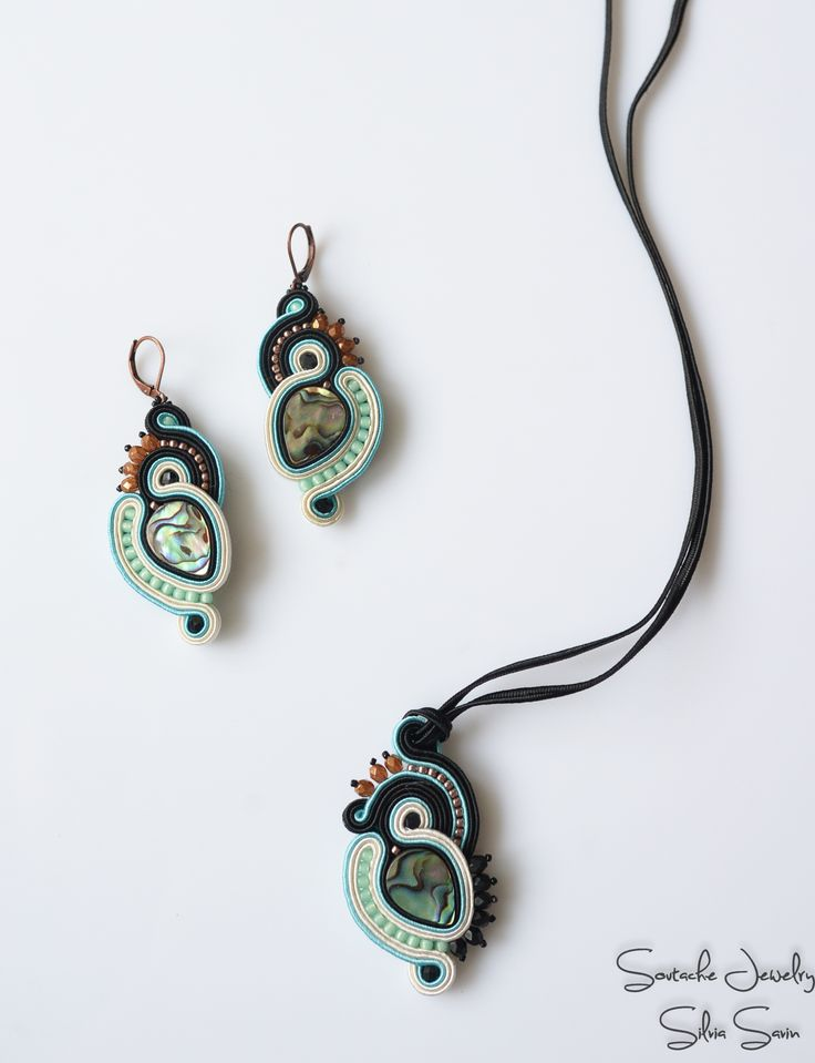 Soutache earrings and pendant with Paua shell, Toho and Preciosa beads