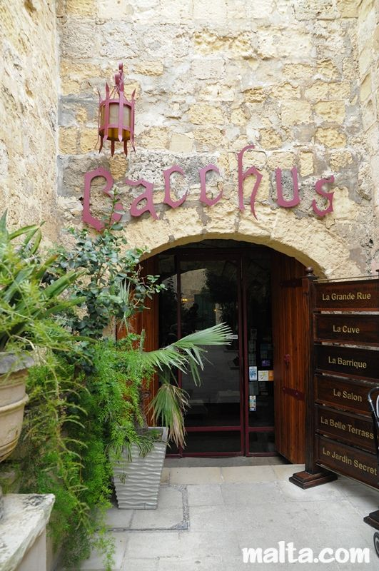 Entrance to Bacchus Restaurant