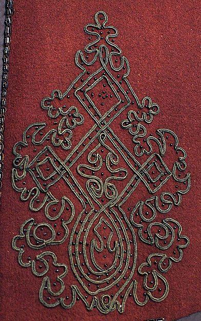 Cloak, detail of soutache braid. Date: 1850s. Culture: American or European