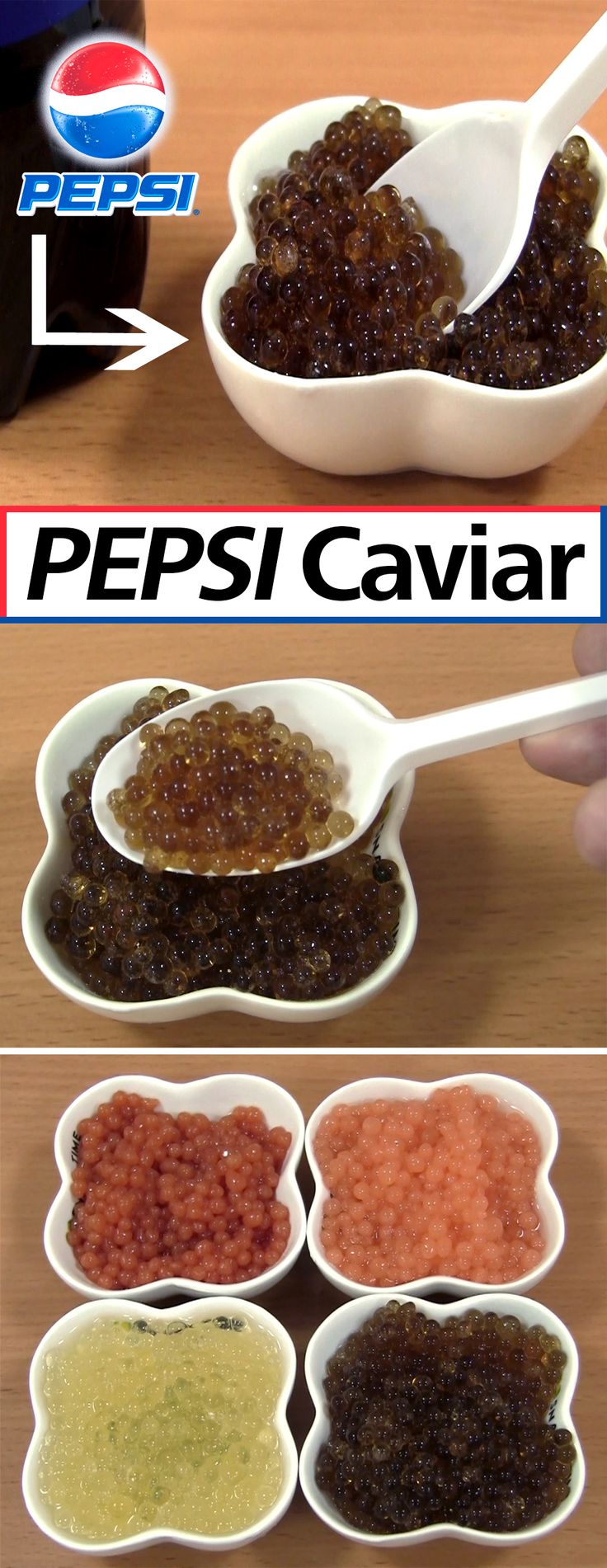 Learn how to transform a liquid into sphere that can be eaten with a spoon. Above you can see caviar made out of Pepsi, Tomato Juice, Apple Juice, and Carrot Juice.