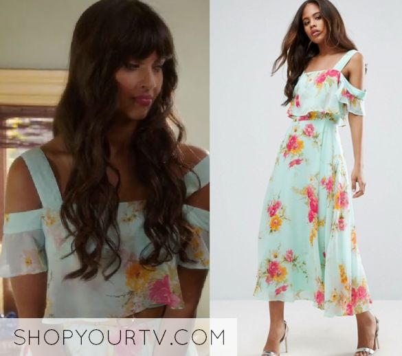 """The Good Place: Season 2 Episode 1 Tahani Al-Jamil (Jameela Jamil) wears this blue off shoulder floral strapless dress in this episode of The Good Place, """"Everything is Great!"""". It is the ASOS Cami Cold Shoulder Flutter Sleeve Midi Dress in Floral Print"""