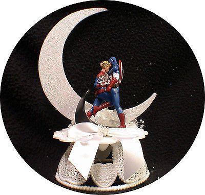 Mrs and Mr Marvel Captain America Avengers Wedding Cake Topper comic groom top