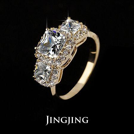 Дешевое Последние мода 18 К позолоченные 1ct принцесса Cut три AAA диаманта CZ женщины кольцо ювелирных изделий для бриллиантовое обручальное обручальное кольцо ( цзинцзин JR028A ), Купить Качество Кольца непосредственно из китайских фирмах-поставщиках:                                      Роскошные 18 К позолоченный круглый сократить 0.5 карата швейцарс