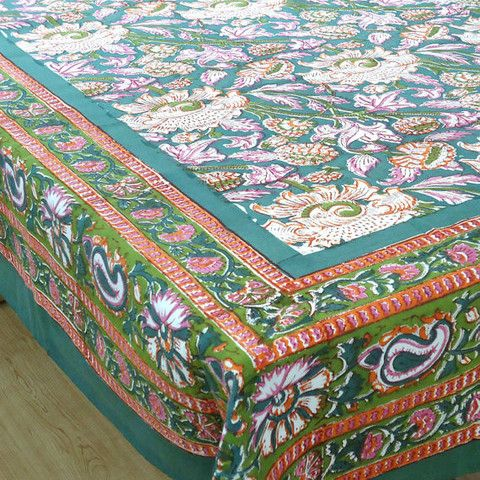 High Quality Block Printed By Hand Using Carved Wooden Blocks. 6 To 8 Seater, 150 X Made  In India.