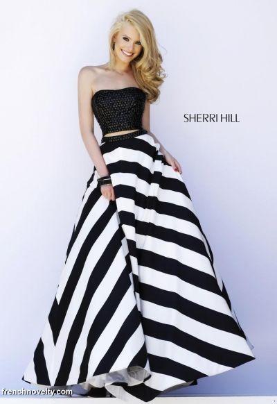 Sherri Hill 32221 Two Piece Stripe Gown- Two piece sleeveless beaded bodice long prom dress with bold stripe skirt.