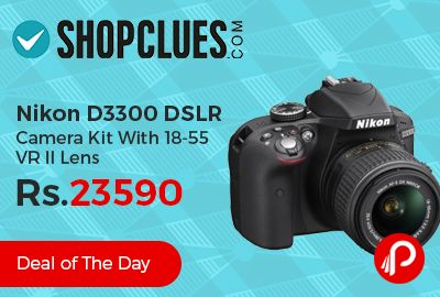 Shopclues #DealoftheDay is offering #Nikon #D3300 #DSLR #Camera Kit With 18-55 VR II Lens just Rs.23590. One lens has been removed from double lens kit to make the price attractive. A 24.2-effective megapixel sensor without an optical low-pass filter, the full-colour RGB metering sensor and Nikon's Scene Recognition System work to give you the best images possible.  http://www.paisebachaoindia.com/nikon-d3300-dslr-camera-kit-with-18-55-vr-ii-lens-just-rs-23590-shopclues/