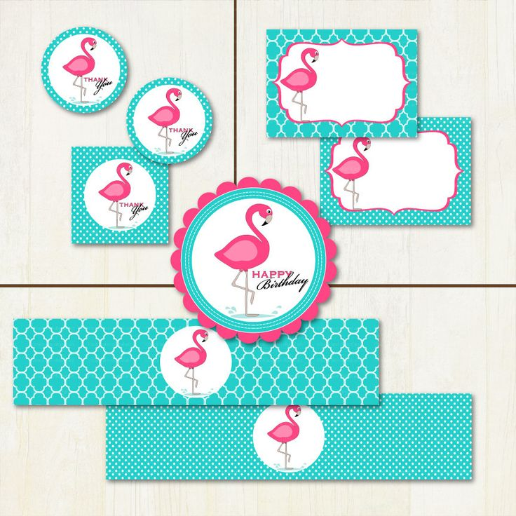 Pink Flamingo Printable Party Set DIY Party- Banner, Cupcake Toppers, Buffet Cards and more. $19.95, via Etsy.