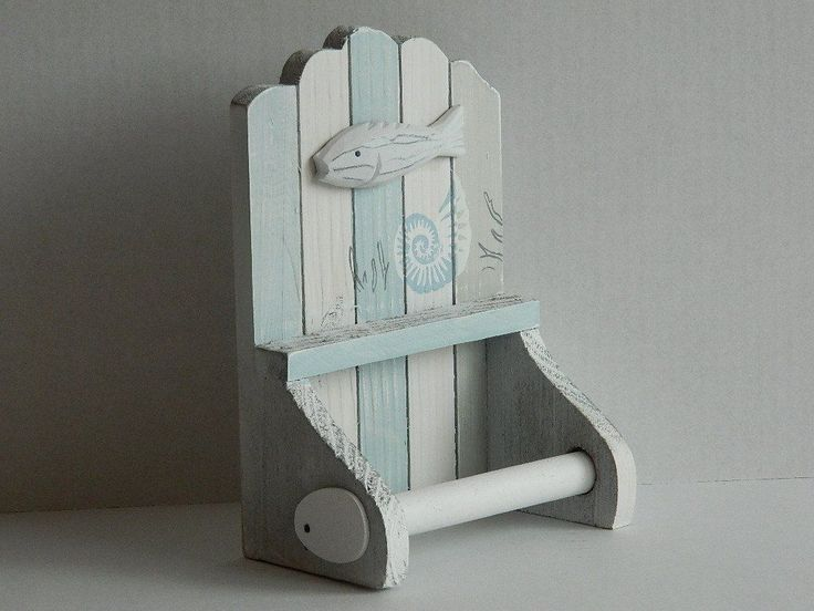 Nautical Theme Shabby Chic Wooden Toilet Roll Holder (55957)