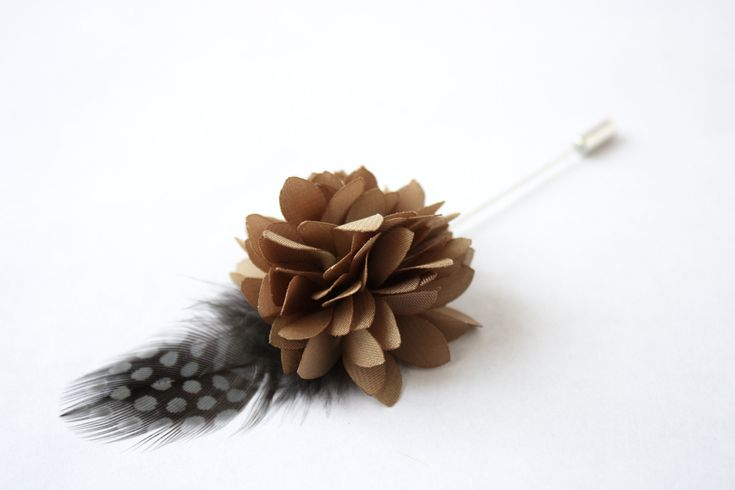 Flower and Feather Lapel Pin - Wedding Boutonniere - Taupe Dahlia Flower and Grey Helmeted Guineafowl feather - Dapper Men Wedding Groom by TheGreyDeer on Etsy