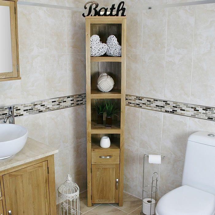 Gallery One Oak Bathroom Furniture Tall Cabinet Cupboard Shelving Storage Unit cm