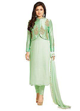 Drashti Dhami Mint Green Straight Pant Suit