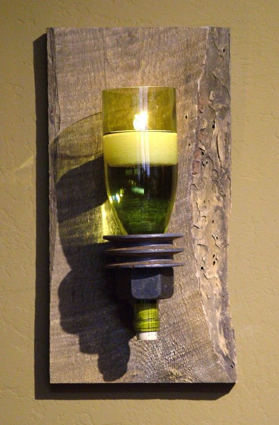 Handmade 2015 floating candle green wine bottle wall decor with big pulley and reclaimed white candle - half a bottle of sconce, wood backboard