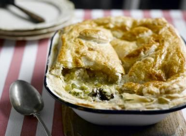 What a Great Combination - Chicken, Leek, Cheese and Prunes in a Pie: Chicken, Leeks and Caerphilly Cheese Recipe