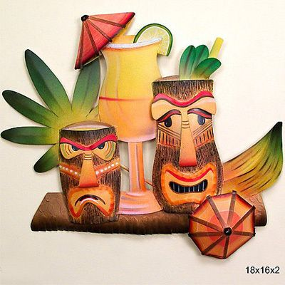 Tiki Glasses - Metal Wall Art
