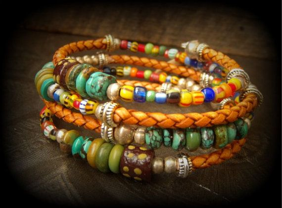 RESERVED- African and Turquoise Beaded Leather Wrap Charm Bracelet