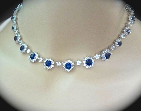 Bridal Jewelry  Blue Sapphire Necklace  Cubic by QueenMeJewelryLLC