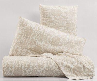 Parure letto in cotone percalle stampato impress beige, matrimoniale