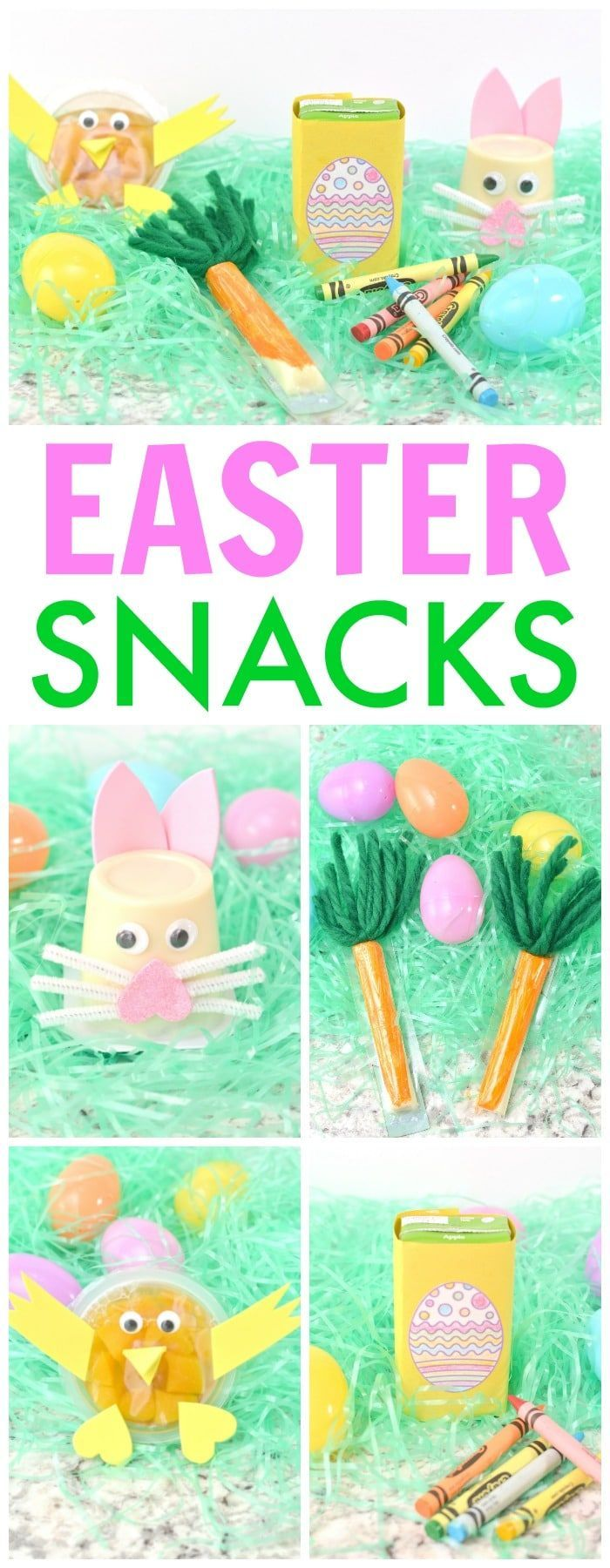 These Easter snack crafts are absolutely adorable and incredibly easy to make! #easter #funfoodforkids #easycrafts