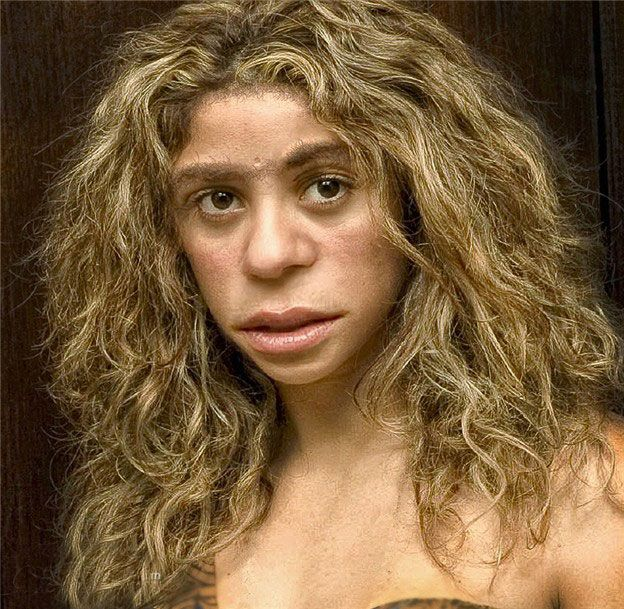 The current love of Neanderthals gets out of hand sometimes. This excellent reconstruction of a pretty Neanderthal girl has hair a rock star would be proud of. Rather than parted and fluffed, Neanderthal hair was probably matted, greased, painted, hacked short or some combination of these. Are we even sure it grew continuously? or was it more like fur? Not knocking Neanderthal coiffures. Cro Magnon hair was probably distastefully unmodern as well.