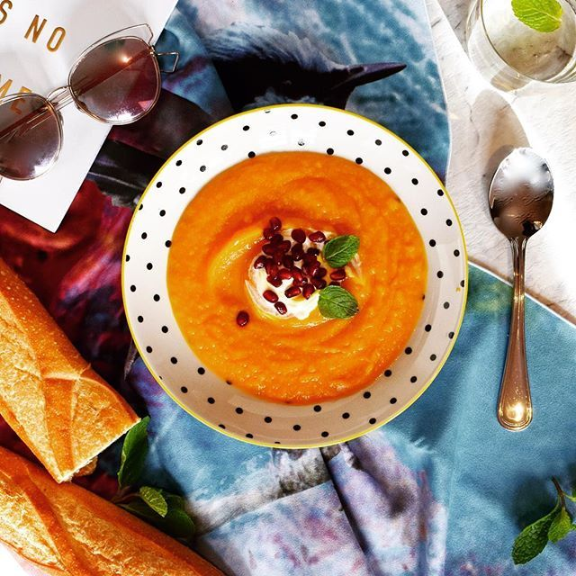 Today we're enjoying a warm and delicious Thai Pumpkin Soup topped with Greek Yoghurt, Mint and Pomegranate seeds for lunch.  Does anyone else use Greek Yoghurt rather than cream in their soup? We love the light and tangy taste!