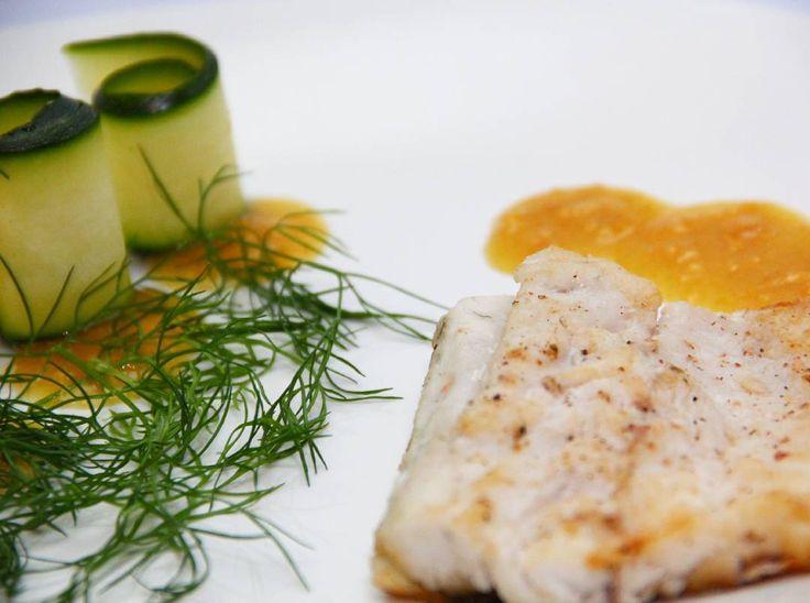 #homecooking #healthyeating #culinaryskills #seafood #seabass with #lemon #puree and #zucchini #salad