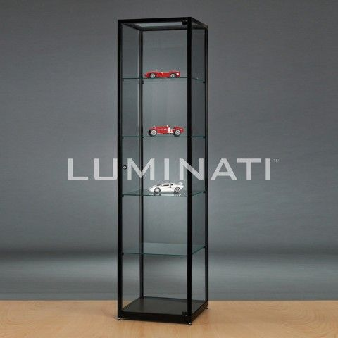 Glass display cabinet with black metal extrusion.