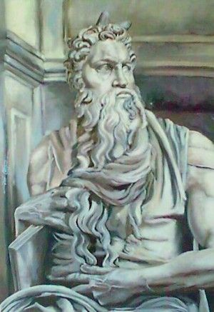 Moses, study on Michelangelo.  41cm x 59cm Oil on canvas board. Based on Michelangelo's sculpture at St Peters Basilica.  Phillip Carrero.