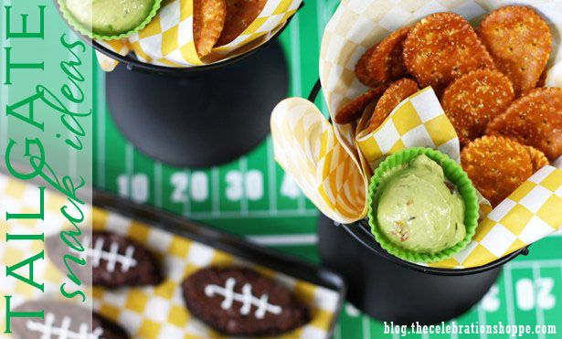 Tailgate party snack ideas with @Ideas To Snack On and blog.thecelebrationshoppe.com ~ Flipside pretzels with guacamole and more!