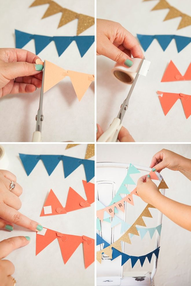 Adorable, DIY bunting flag banner for your wedding reception chairs!